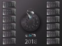 Календарь 2018 и знаки зодиака Стоковое Изображение RF