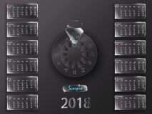 Календарь 2018 и знаки зодиака Стоковое Изображение