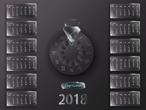 Календарь 2018 и знаки зодиака Стоковое Фото