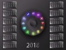 Календарь 2018 и знаки зодиака Стоковые Фото