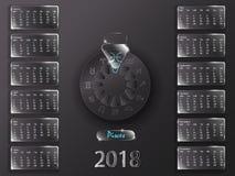 Календарь 2018 и знаки зодиака Стоковое фото RF