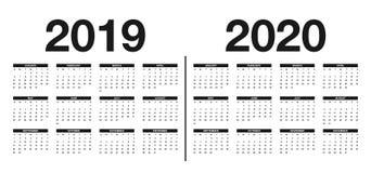 Календарь 2019 и шаблон 2020 Дизайн календаря в черно-белых цветах иллюстрация вектора
