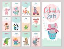 Календарь 2019 Милый ежемесячный календарь с животными леса иллюстрация штока