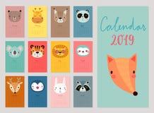 Календарь 2019 Милый ежемесячный календарь с животными рука нарисованная характерами иллюстрация вектора