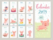 Календарь 2019 Милый ежемесячный календарь с жизнерадостными piggies Нарисованные рукой характеры стиля иллюстрация вектора