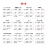 Календарь на 2018 год Стоковые Изображения