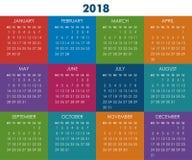 Календарь на 2018 год Стоковая Фотография