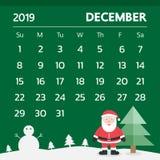 Календарь на декабрь 2019 с темой рождества - вектором иллюстрация вектора
