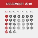 Календарь на декабрь 2019 иллюстрация штока