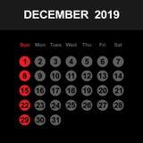 Календарь на декабрь 2019 бесплатная иллюстрация