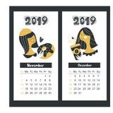 Календарь на 2019 Ноябрь и декабрь также вектор иллюстрации притяжки corel иллюстрация вектора