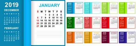 Календарь на 2019 Старты недели на воскресенье Красочные цвета к месяц иллюстрация штока