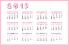 Календарь на 2019 с милой розовой свиньей цвета Шаблон вектора вертикальный editable Старты недели на воскресенье иллюстрация вектора