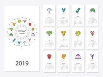 календарь 2019 Новых Годов Стоковые Изображения