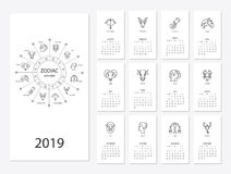 календарь 2019 Новых Годов Стоковые Фотографии RF