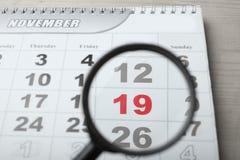 Календарь, 19-ое ноября Стоковое Фото