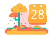 Календарь 28-ое сентября или в октября Дизайн вектора плоский На яркой Стоковое фото RF