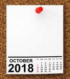 Календарь октябрь 2018 перевод 3d иллюстрация штока