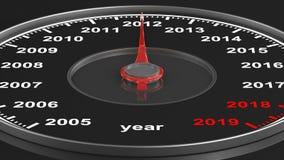 Календарь от спидометра на черной предпосылке 3d представляют иллюстрация штока