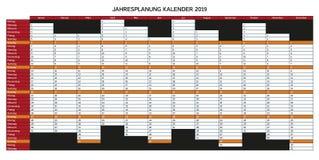 Календарь планирования года на 2019 в немецком - kalend Jahresplanung иллюстрация штока