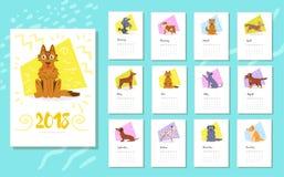 Календарь 2018 Порода собак Иллюстрация вектора