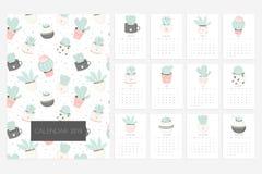Календарь 2019 Потеха и милый календарь с succulents и заводами кактуса нарисованными рукой бесплатная иллюстрация