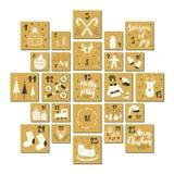 Календарь пришествия рождества Элементы и номера нарисованные рукой Карточки установленный дизайн календаря зимних отдыхов, иллюс бесплатная иллюстрация
