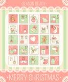 Календарь пришествия рождества иллюстрация штока