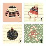 Календарь пришествия с иллюстрациями праздника рождества вектора милой руки вычерченными на 1-ое-4 декабря Некрасивый свитер рожд бесплатная иллюстрация