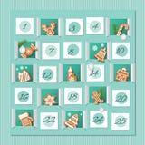 Календарь пришествия, украшенные печенья пряника wirh комплекс предпусковых операций рождества к вектор иллюстрация штока
