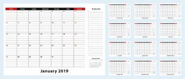 Календарь пусковой площадки стола вектора ежемесячный, †«декабрь 2019 января 2019 Плановик календаря со списком дел и место для бесплатная иллюстрация