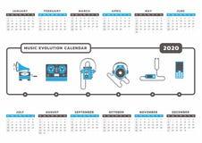 Календарь 2020 развития музыки Иллюстрация вектора