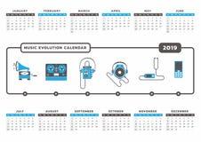 Календарь 2019 развития музыки Стоковое Изображение RF