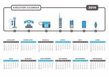 Календарь 2019 развития телефона Стоковое Изображение RF