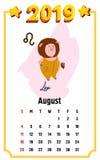 Календарь свиньи на август 2019 Милый календарь месяца с знаком leo гороскопа Старты недели на воскресенье Иллюстрация вектора в  иллюстрация штока