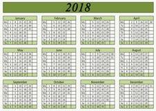 Календарь стены для цвета офиса зеленого Стоковая Фотография