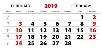 Календарь стены 2019 на февраль, старт -го недели от воскресенья иллюстрация вектора