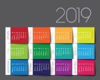 календарь 2019 Столб цвета оно иллюстрация штока