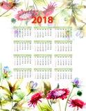 календарь 2018 с декоративными полевыми цветками Стоковые Изображения RF