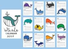 Календарь 2019 с китами руки вычерченными иллюстрация вектора