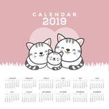 Календарь 2019 с милыми котами иллюстрация штока