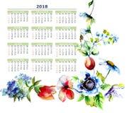 Календарь 2018 с стилизованными цветками весны Стоковое Изображение