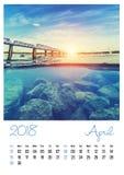 Календарь фото с минималистским городским пейзажем и мостом 2018 arachnids Стоковые Изображения
