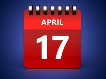 календарь 3d 17-ое апреля Иллюстрация штока