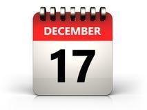 календарь 3d 17-ое декабря Иллюстрация вектора