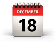 календарь 3d 18-ое декабря Стоковые Изображения