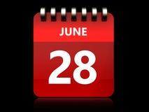 календарь 3d 28-ое июня Стоковая Фотография
