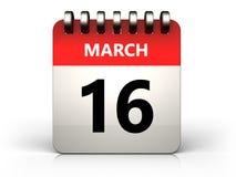 календарь 3d 16-ое марта Стоковое Фото