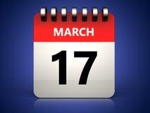 календарь 3d 17-ое марта Стоковое Изображение