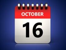 календарь 3d 16-ое октября Стоковые Фото